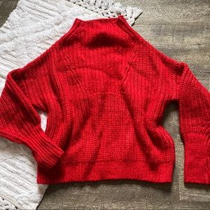 Sleeping on Snow Red Knit Mock Neck Pullover